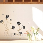 IR FLOWER & BUTTERFLY (Black) Wall Deco Sticker (50cm X 70cm)