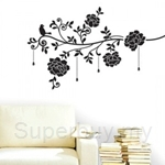 IR Flower & Jewelry (black) Wall Deco Sticker (50cm X 70cm)
