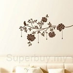 IR Flower & Jewelry (Dark brown) Wall Deco Sticker (50cm X 70cm)