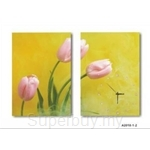 hOurHome Modern Art Paintings & Clock -Rectangular, 2-piece set- A2010
