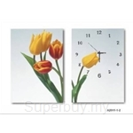 hOurHome Modern Art Paintings & Clock -Rectangular, 2-piece set- A2011