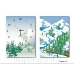 hOurHome Modern Art Paintings & Clock -Rectangular, 2-piece set- A2016