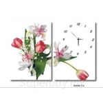 hOurHome Modern Art Paintings & Clock -Rectangular, 2-piece set- A2034