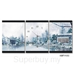 hOurHome Modern Art Paintings & Clock -Rectangular, 3-pieces set- A3071-1-2-3