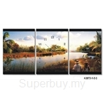 hOurHome Modern Art Paintings & Clock -Rectangular, 3-pieces set- A3072-1-2-3