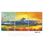 hOurHome Modern Art Paintings & Clock -Rectangular, 3-pieces set- A3097-1-2-3