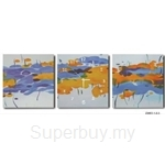 hOurHome Modern Art Paintings & Clock-Square, 3 Pieces-Z3003