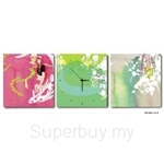 hOurHome Modern Art Paintings & Clock-Square, 3 Pieces-Z3159