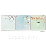 hOurHome Modern Art Paintings & Clock-Square, 3 Pieces-Z3162