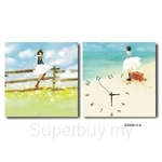 hOurHome Modern Art Paintings & Clock -Square, 2-pieces set- Z2124-1-2