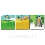 hOurHome Modern Art Paintings & Clock-Square, 3 Pieces-Z3165