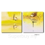 hOurHome Modern Art Paintings & Clock -Square, 2-pieces set- Z2126-1-2
