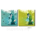 hOurHome Modern Art Paintings & Clock -Square, 2-pieces set- Z2130-1-2