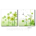 hOurHome Modern Art Paintings & Clock -Square, 2-pieces set- Z2136-1-2