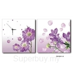 hOurHome Modern Art Paintings & Clock -Square, 2-pieces set- Z2138-1-2