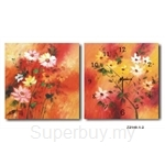 hOurHome Modern Art Paintings & Clock -Square, 2-pieces set- Z2140-1-2