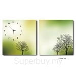 hOurHome Modern Art Paintings & Clock -Square, 2-pieces set- Z2144-1-2