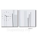 hOurHome Modern Art Paintings & Clock -Square, 2-pieces set- Z2145-1-2