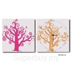 hOurHome Modern Art Paintings & Clock -Square, 2-pieces set- Z2154-1-2