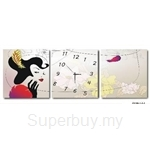 hOurHome Modern Art Paintings & Clock-Square, 3 Pieces-Z3186