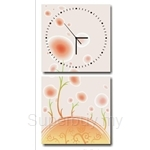 hOurHome Modern Art Paintings & Clock -Square, 2-pieces set- Z2157-1-2