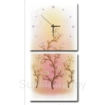 hOurHome Modern Art Paintings & Clock -Square, 2-pieces set- Z2158-1-2