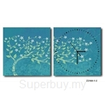 hOurHome Modern Art Paintings & Clock -Square, 2-pieces set- Z2160-1-2