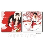 hOurHome Modern Art Paintings & Clock -Square, 2-pieces set- Z2180-1-2