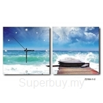 hOurHome Modern Art Paintings & Clock -Square, 2-pieces set- Z2184-1-2