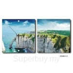 hOurHome Modern Art Paintings & Clock -Square, 2-pieces set- Z2185-1-2