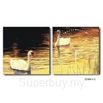 hOurHome Modern Art Paintings & Clock -Square, 2-pieces set- Z2189-1-2