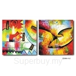 hOurHome Modern Art Paintings & Clock -Square, 2-pieces set- Z2191-1-2