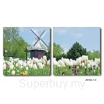 hOurHome Modern Art Paintings & Clock -Square, 2-pieces set- Z2193-1-2