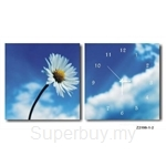 hOurHome Modern Art Paintings & Clock -Square, 2-pieces set- Z2199-1-2