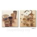 hOurHome Modern Art Paintings & Clock -Square, 2-pieces set-Z2205-1-2