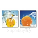 hOurHome Modern Art Paintings & Clock -Square, 2-pieces set-Z2231-1-2