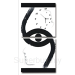 hOurHome Modern Art Paintings & Clock -Square, 2-pieces set-Z2264-1-2