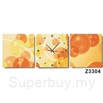 hOurHome Modern Art Paintings & Clock-Square, 3 Pieces-Z3304