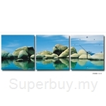 hOurHome Modern Art Paintings & Clock-Square, 3 Pieces-Z3309