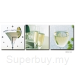 hOurHome Modern Art Paintings & Clock-Square, 3 Pieces-Z3313