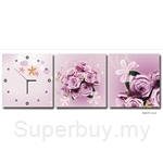 hOurHome Modern Art Paintings & Clock-Square, 3 Pieces-Z3317
