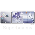 hOurHome Modern Art Paintings & Clock-Square, 3 Pieces-Z3320-1-2-3
