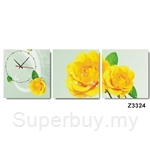 hOurHome Modern Art Paintings & Clock-Square, 3 Pieces-Z3324-1-2-3