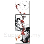 hOurHome Modern Art Paintings & Clock-Square, 3 Pieces-Z3326-1-2-3