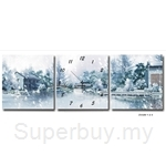 hOurHome Modern Art Paintings & Clock-Square, 3 Pieces-Z3329-1-2-3