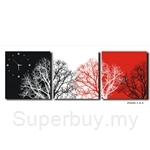 hOurHome Modern Art Paintings & Clock-Square, 3 Pieces-Z3332-1-2-3