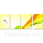 hOurHome Modern Art Paintings & Clock - Rectangular, 4-pieces set - DSA-REC09