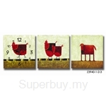 hOurHome Modern Art Paintings & Clock-Square, 3 Pieces- Z3940-1-2-3