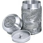 Tumasek Pewter Tea Caddy Generation of Blessings - 2484