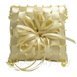 Gold Checkered Ring Pillow with Beads